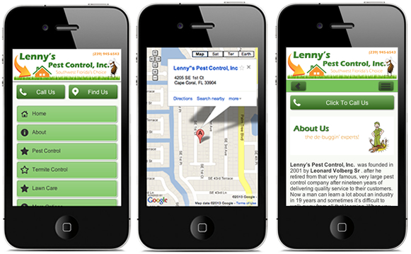 Lenny's Pest Control Mobile Website Design