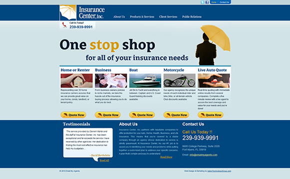 Insurance Center Website