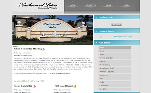 Heatherwood Lakes Community Website