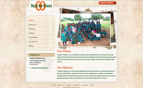 Hope For Ghana Website Design
