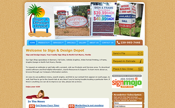 Sign and Design Depot Website