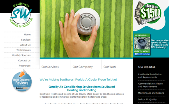 Southwest Heating & Cooling Website
