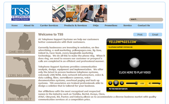Telephone Support Systems Website
