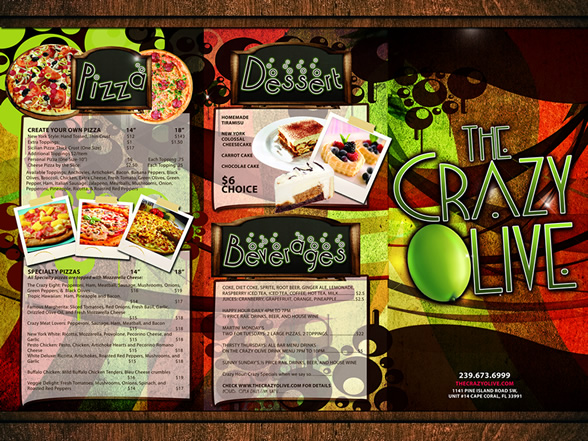 Crazy Olive Menu Design