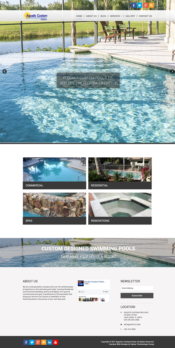 Aquatic Custom Pools Website