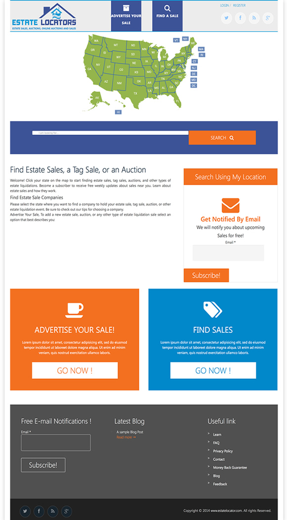 Estate Sales Locator Website